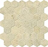 M S International Coastal Sand Hexagon 12 In. X 10 mm Honed Limestone Mesh-Mounted Mosaic Tile, (10 sq. ft., 10 pieces per case)