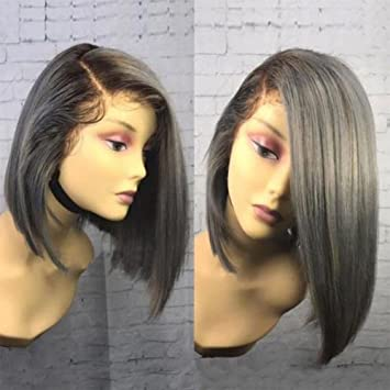 Wowsexy Hair Ombre 1B/Grey Short Bob Lace Front Human Hair Wigs for African  American Women
