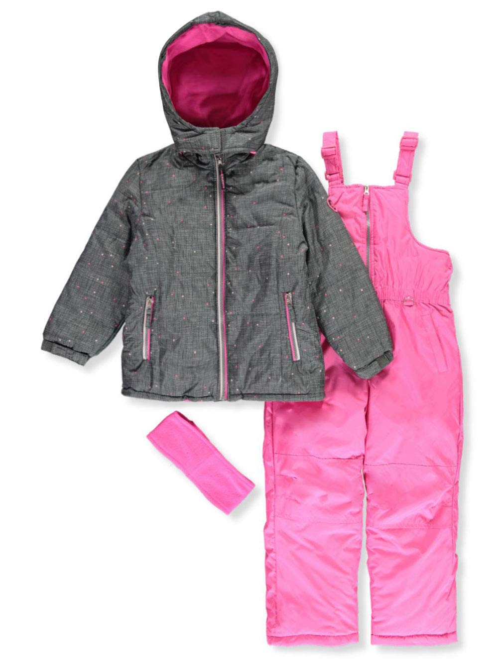 Pink Platinum Girls' Little Printed Super Snowsuit, Cool Grey, 4 by Pink Platinum