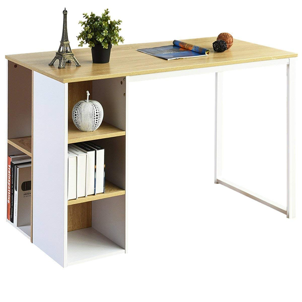 Computer Desk Office Writing Desk with 5 Side Shelves Large Study Table Modern Laptop Notebook Desk with Storage Wood Workstation Home Collection PC Organizers Metal Legs -Oak/White Coavas