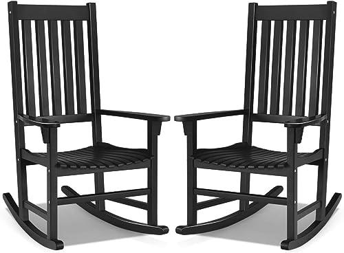 Giantex Rocking Chair Acacia Wood Frame Outdoor Indoor