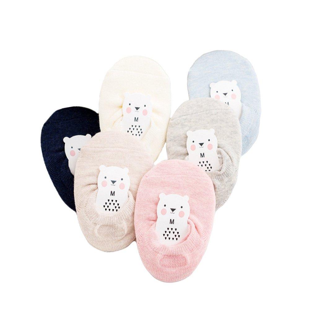 CHUANGLI 6 Pairs Baby No Show Anti Slip Heel Grip Socks Toddler Low Cut Cotton Walking Socks 0-8Y