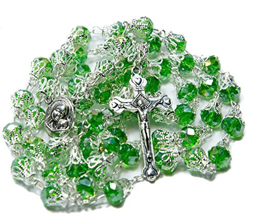 UNIQUE Large Glass Crystal Beads Rosary with Holy Soil Silver Crucifix (Green)