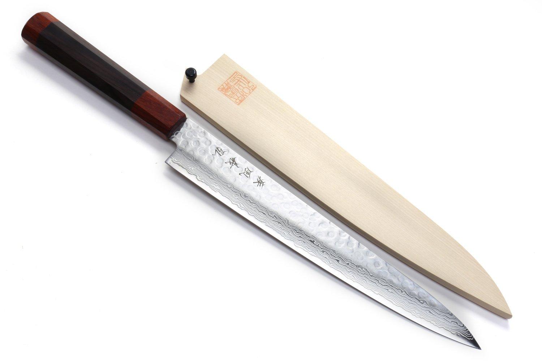 Yoshihiro NSW 46 Layers Hammered Damascus Sujihiki (Slicer) Japanese Sushi Sashimi Chef Knife 9.5inch(240mm) Shitan Handle with Natural Magnolia Saya