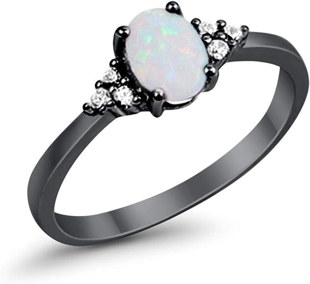 Amazon.com: Anillo de compromiso de boda Lab creado blanco ...