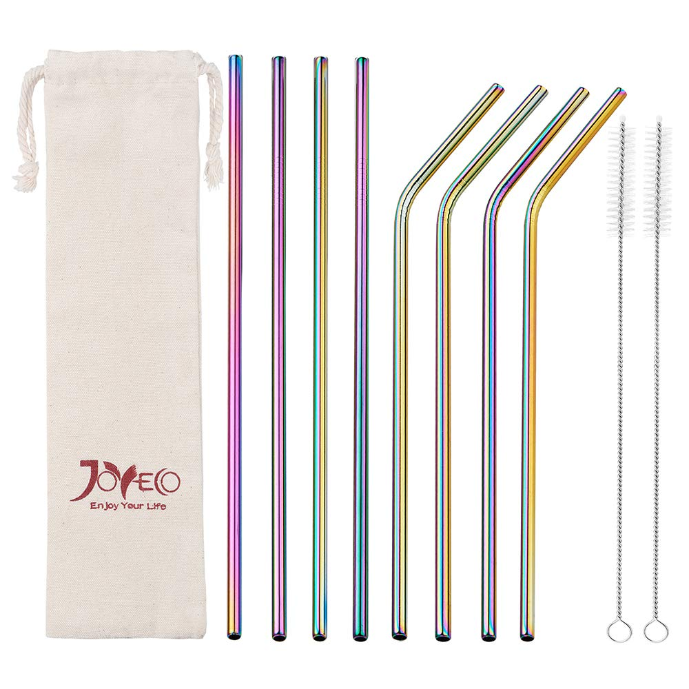 JOYECO Stainless Steel Drinking Straws, Rainbow Multi-Colored Straw, Reusable Drink Straw for 20oz Tumblers Rumblers Cold Beverage (Set of 8,4 Bent+4 Straight + 2Brushes) by JOYECO