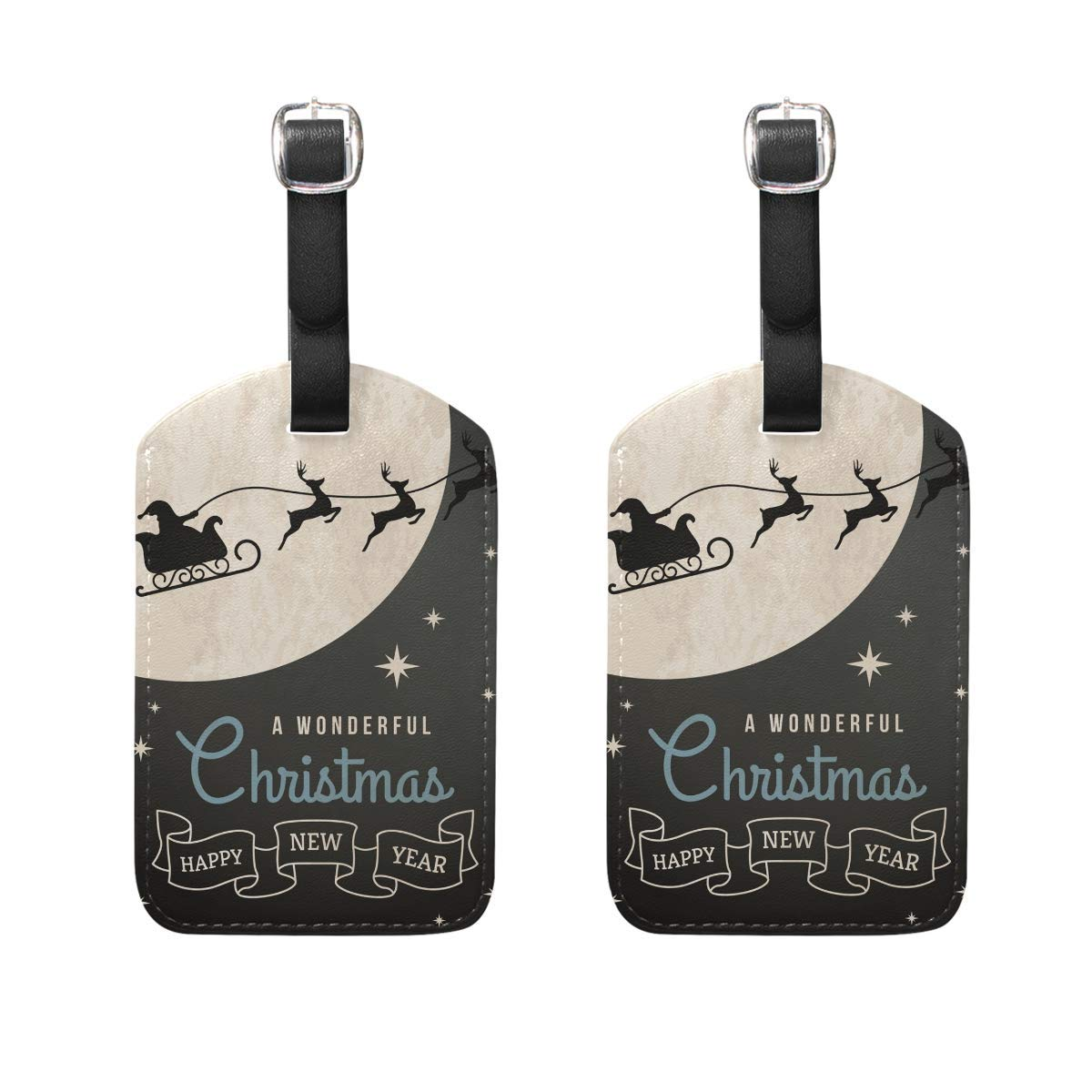 Merry Christmas 3 Luggage Tag Travel ID Label Leather for Baggage Suitcase Set 2 Piece