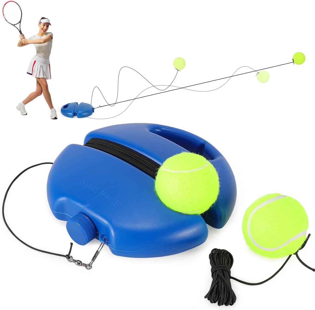 Fostoy Entrenador de Tenis, Tennis Trainer Set Trainer Baseboard con 3 Bolas de Rebote, Entrenamiento de Tenis para Entrenamiento en Solitario Niños Adultos Jugador Principiante