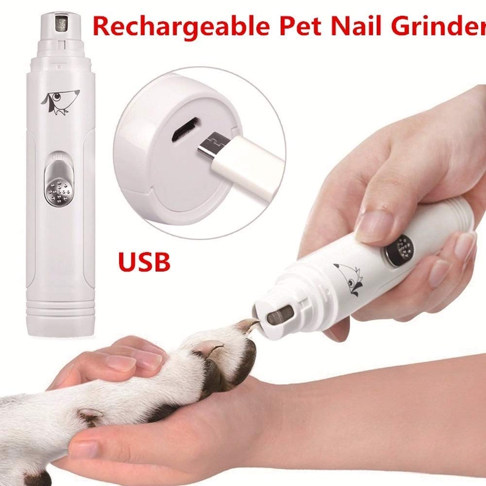 bu yunlong Rechargeable Pet Nail Grinder, Gentle Paws Nail Grinder, Electric Premium Nail Grinder Professional Pet Nail Trimmer for Dogs and Cats/Pet Grooming Kit(Color: White)