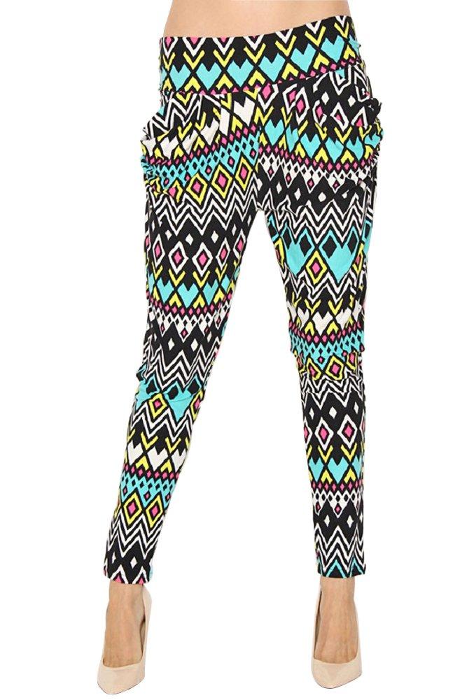 Women's New Turquoise & Black Aztec Diamond print Harem Pants