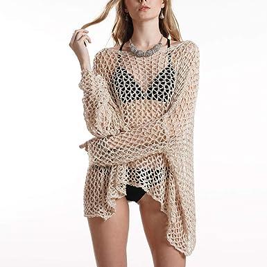 ea63639fb4502 Women Sexy Crochet Beach Cover up Fishnet Sarong Wrap Bikini Hollow Out  Beach Swimsuit Coverup Swimwear at Amazon Women's Clothing store: