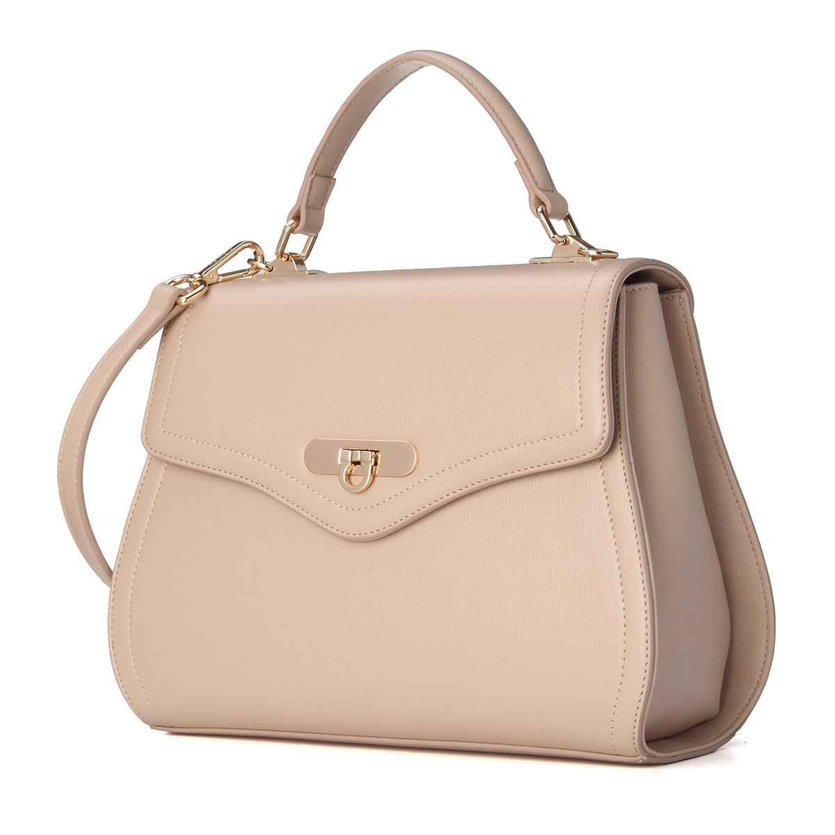 Kadell Women Leather Handbag Purse Shell Shape Top Handle Bag with Removable Strap Beige