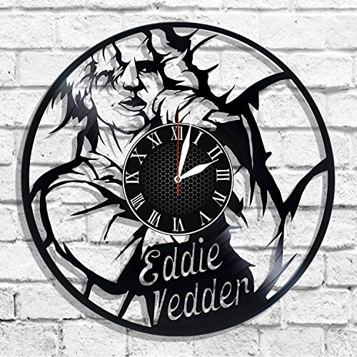 Eddie Vedder Musician and Singer-Songwriter Handmade Vinyl Record Wall Clock, Get Unique Bedroom or Nursery Wall Decor - Gift Ideas for Kids and Teens - Unique Art -