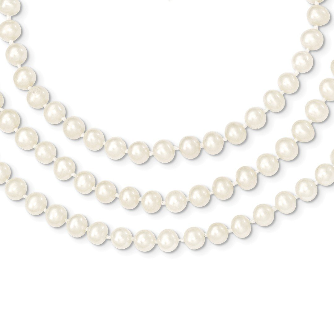 ICE CARATS 14k Yellow Gold 6 6.5mm 3 Strand Freshwater Cultured Pearl Chain Necklace Fine Jewelry Ideal Mothers Day Gifts For Mom Women Gift Set From Heart