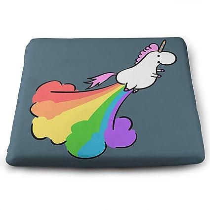 amazon com fart rainbow unicorn square seat cushion memory filling rh amazon com Chair Back Cushion for Office Ergonomic Chairs for Back Problems