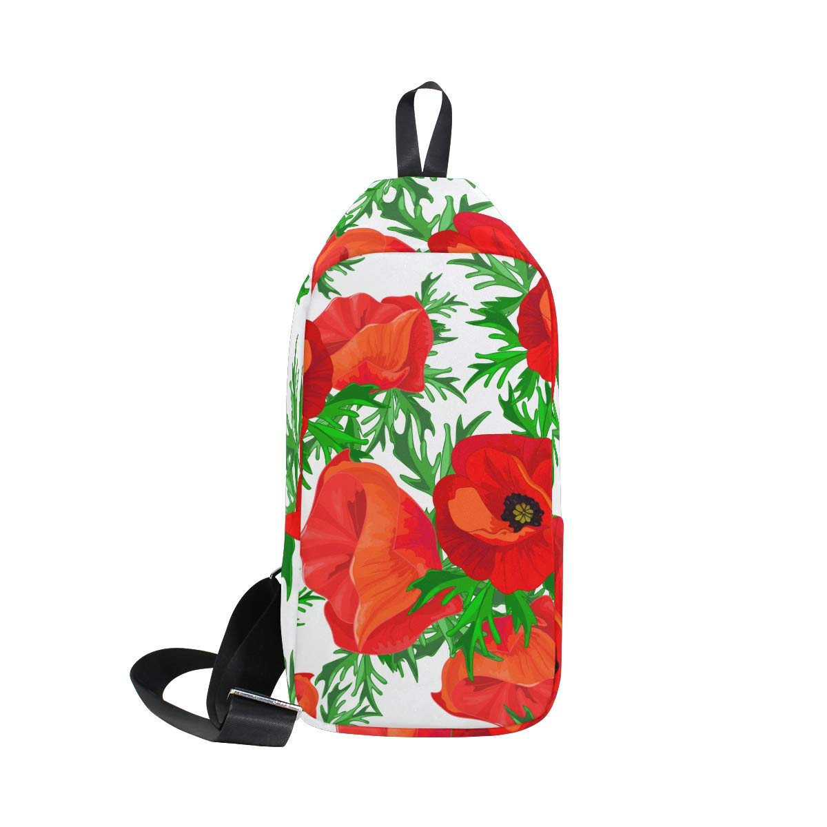 TFONE Red Poppy Flower Crossbody Bag Lightweight Chest Shoulder Messenger Pack Backpack Sling Bag