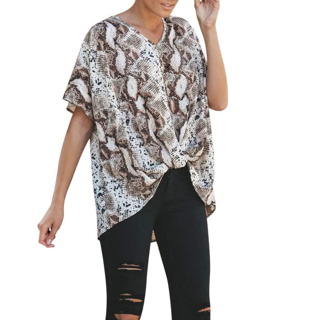 Fashion Tops for Women V Neck Leopard Printing Casual Short Sleeve Irregular Shirt (XXL, Brown)