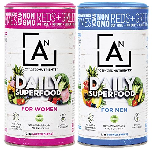 Best Green Superfood 100% Natural Daily Green Juice Superfood Powder by Activated Nutrients, Amazing All In One Nutrition and Fiber Superfood Powder, Increases Energy and Health (Women, 8.5 Ounce) by Activated Nutrients