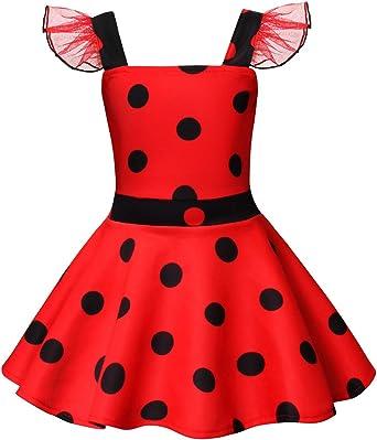 AmzBarley Ladybug Lady Bug Disfraz Niña Cumpleaños Mariquita Infantil,Girls Dress Up,Vestido Traje Falda Escenario para Cosplay Halloween Carnaval: Amazon.es: Ropa y accesorios
