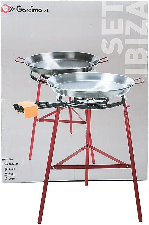 La Ideal - Paella Pulida +Hornillo Mod. 600+Soporte Reforzado - Tamaño : 70 Cm: Amazon.es: Hogar
