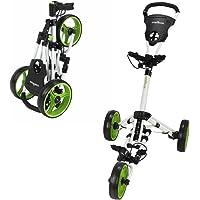 Caddymatic Golf X-Lite One-Click Folding Pull/Push Golf Cart White/Green