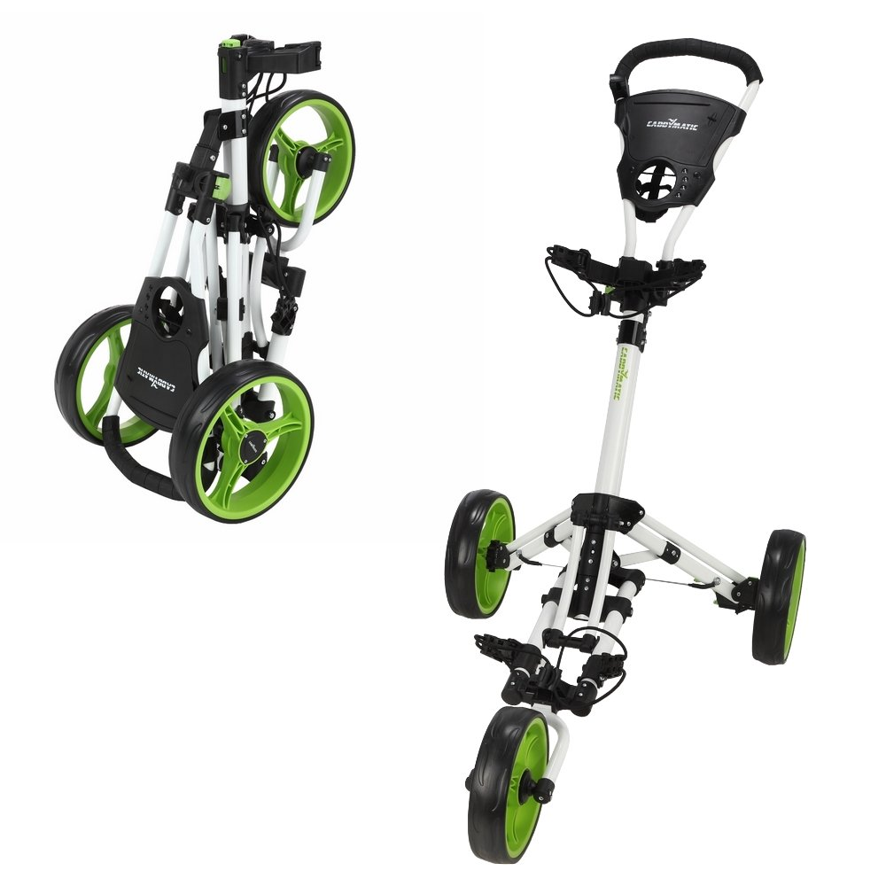 Caddymatic Golf X-Lite One-Click Folding Pull Push Golf Cart White Green