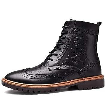 SHANLY Brogues Botines para Hombre Vintage Lace Ups Trekking Zapatos De Senderismo Desert Martin Boot Fleece Forro De Trabajo De Viaje De Gran Tamaño: ...