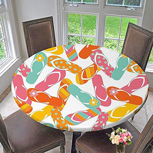 Picnic Circle Table Cloths Bunch Flip Flops Sandals Pattern Relax Holiday Sunbath Theme Groovy Graphic Multicolor for Family Dinners or Gatherings 35.5