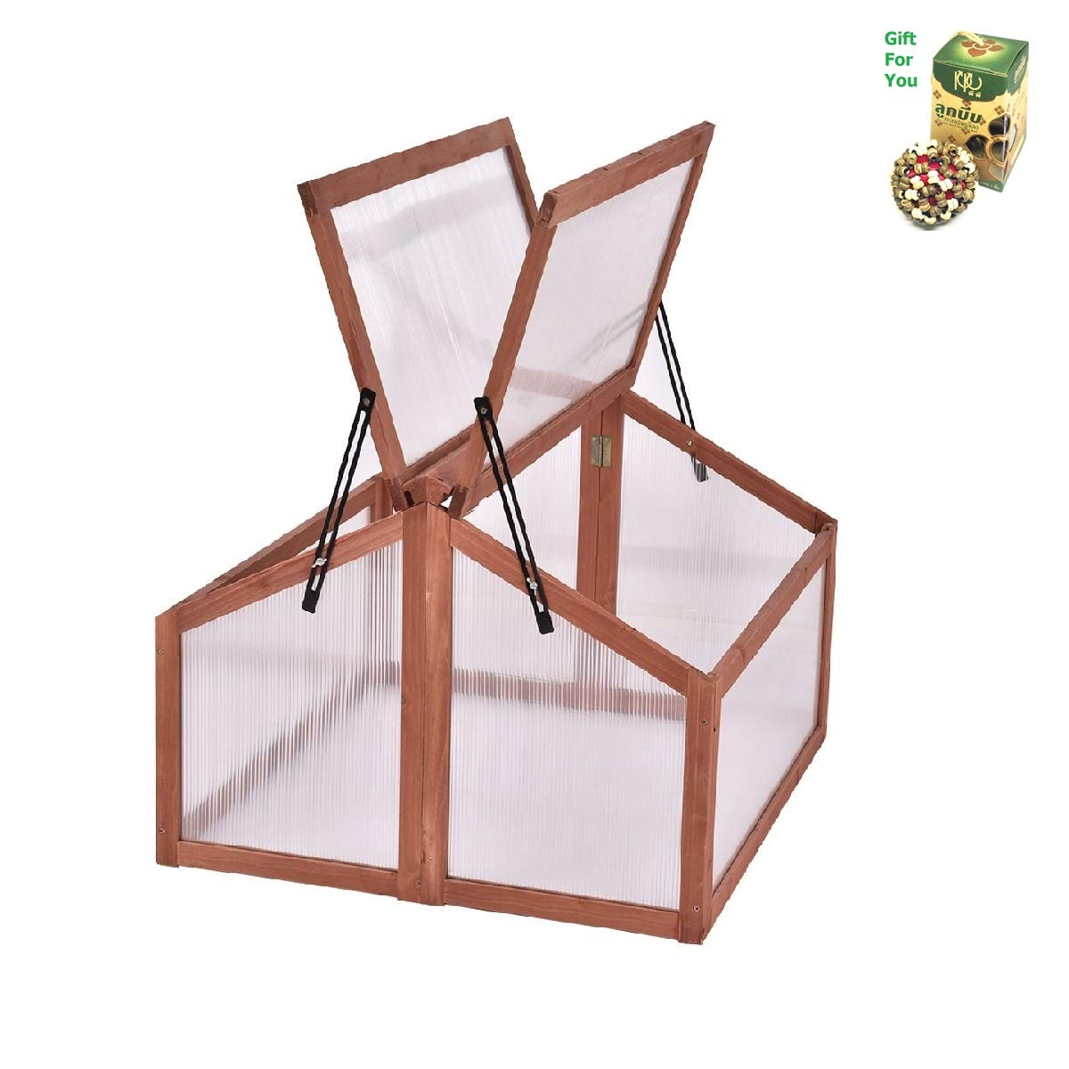 Double Box Garden Wooden Greenhouse by SpiritOne + Gift Coconut Shell Massage Ball