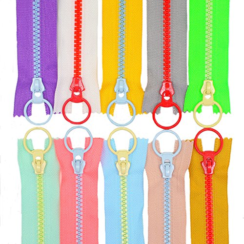 YaHoGa 10PCS 10 Inch (25CM) #5 Plastic Zippers with Lifting Ring Pull Close End Vislon Zippers for DIY Sewing Craft Bags Garment 10