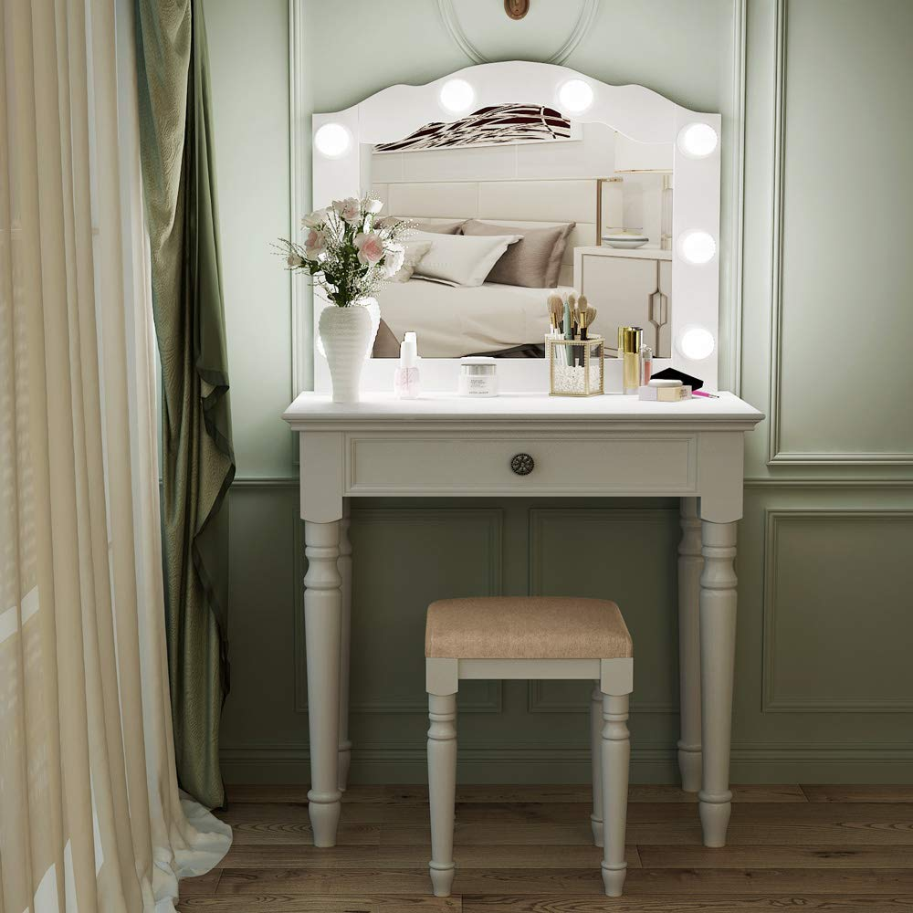 Tribesigns White Vanity Set with Lighted Mirror, Makeup Dressing Table and Stool Set with Large Drawer, Dresser Table Set for Women (White) by Tribesigns (Image #4)