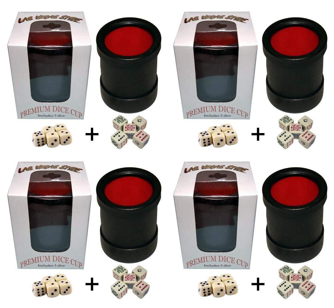 Bundle of 4 Las Vegas Style Premium Dice Cups (20 Pip Dice + 20 Poker Dice)