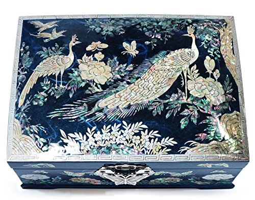 (Jewelry Box Ring Organizer Mother of Pearl Inlay Mirror Lid 2 Level Peacock (Blue))