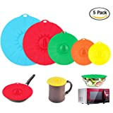 Microwave Covers Silicone Lids set of 5 Colorful Combo for Food Bowl Cup Pot Skillet Anti-dust Airtight Seal Super Suctionby URiver