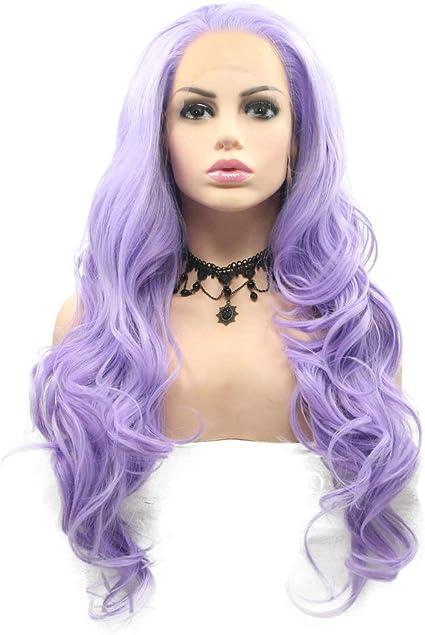 Peluca de pelo sintético de fibra de alta calidad, color morado, lila, lavanda, con encaje frontal, para mujer, pelo rizado, fiesta, cosplay, boda, 22 pulgadas: Amazon.es: Belleza