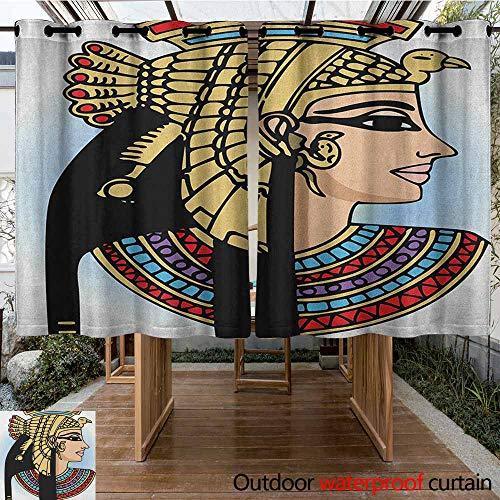 Outdoor Blackout Curtain,Egyptian,Profile Portrait of Queen Cleopatra Ancient Cultures Civilization Antique Artwork,Grommet Curtains for Bedroom,K160C160 Multicolor