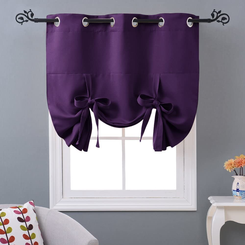 NICETOWN Blackout Roman Shades for Bathroom - Kitchen Thermal Insulated Tie Up Shade Small Window Curtain for Nursery/Living Room (Eyelet Top Panel, 46 inches W x 63 inches L, Royal Purple)