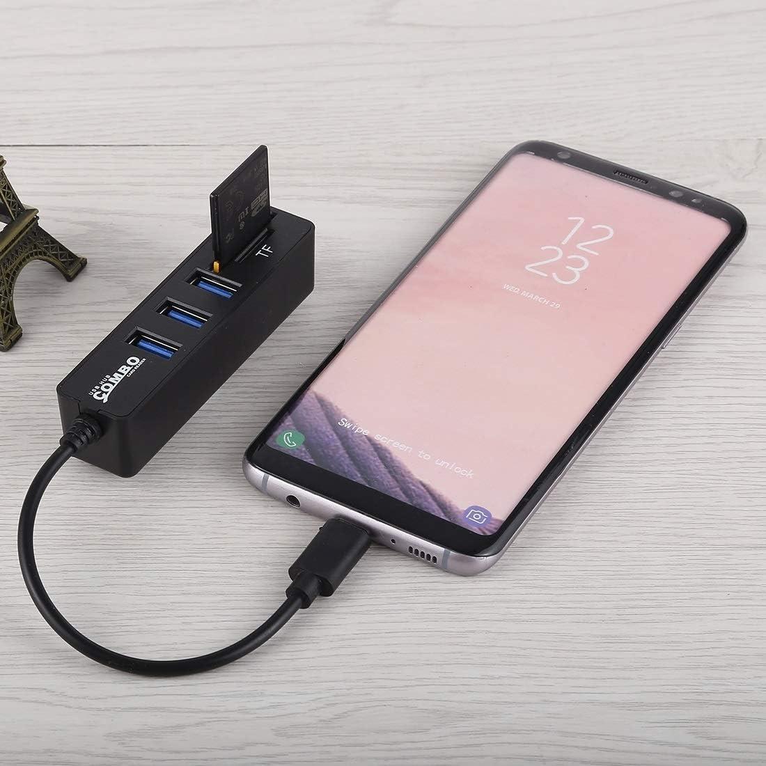 Total Length: 24cm Color : Black 3 x USB Ports to USB-C//Type-C HUB Converter 2 in 1 TF /& SD Card Reader USB Type-C Series Black