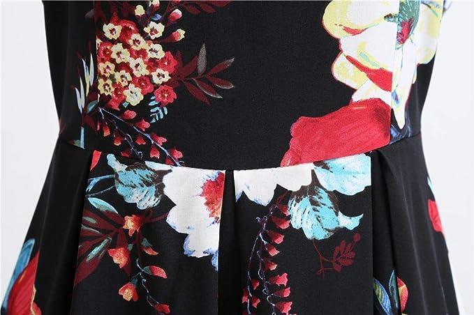 Sharemen Boatneck Vintage Sleeveless Tea Dress Belt Pleated Swing Party(Black, L) at Amazon Womens Clothing store: