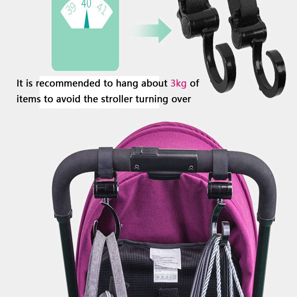 Stroller Hooks,2 Pack Aluminium Alloy with Anti-Slip straps Stroller Hanger Clip Universal Hooks Perfect Wheelchairs Accessories for Hanging Diaper Bags,Backpackhook1