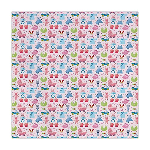 iPrint Satin Square Tablecloth,Baby,Cute Toys Childish Teddy Bear Rabbit Bunny Birthday Girls Cheerful Design Decorative,Pale Pink Rose Blue,Dining Room Kitchen Table Cloth Cover