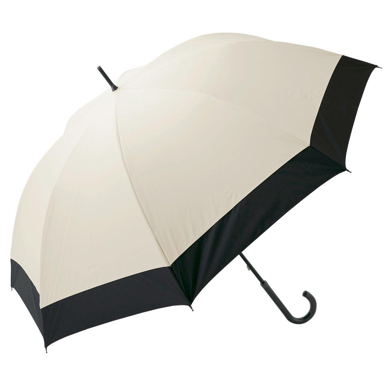 【Rose Blanc】100%完全遮光 日傘 コンビ 男女兼用 メンズサイズ 65cm (ベージュ×ブラック) B01F1RZ95C ベージュ×ブラック ベージュ×ブラック