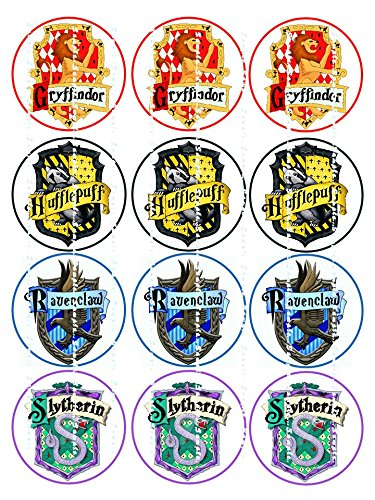 Edible Image Cupcake Topper Birthday Party Decor Decoration Premium Frosting Sheet Harry Potter 4 Houses