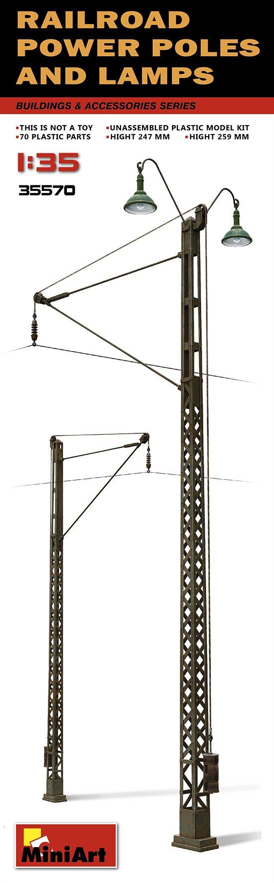 PLASTIC MODEL BUILDING DIORAMA RAILROAD POWER POLES AND LAMPS 1/35 MINIART 35570