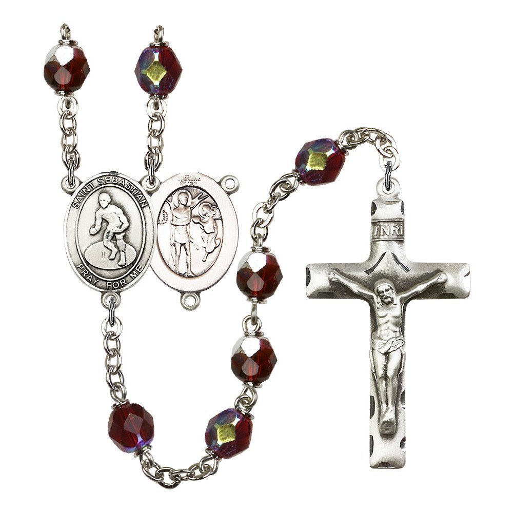 St. Sebastian / Wrestling Silver-Plated Rosary 7mm January Red Lock Link Aurora Borealis Beads Crucifix Size 1 3/4 x 1 medal