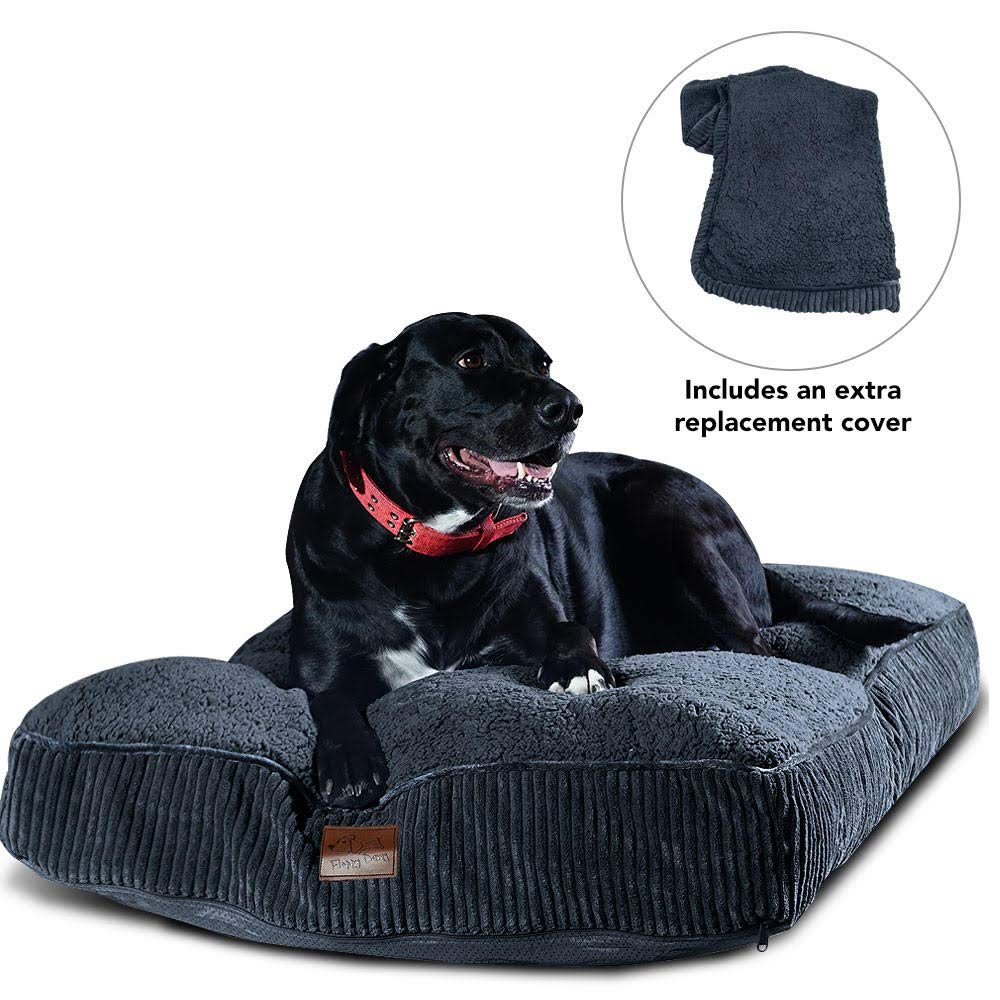 Floppy Dawg Dog Bed with Removable Cover, Waterproof Liner, and Extra Cover in Large and Extra Large. Made for Dogs Over 80 pounds. Stuffed up to 8 Inches High with Memory Foam Pieces. by Floppy Dawg