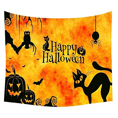 3D Happy Halloween Wallhaning Tapestry,Napoo 2017 New Pumpkin Cat Bats Print Beach Cover Up Tunic Home Decor For Living Room (E) - Cute Happy Halloween Wallpaper