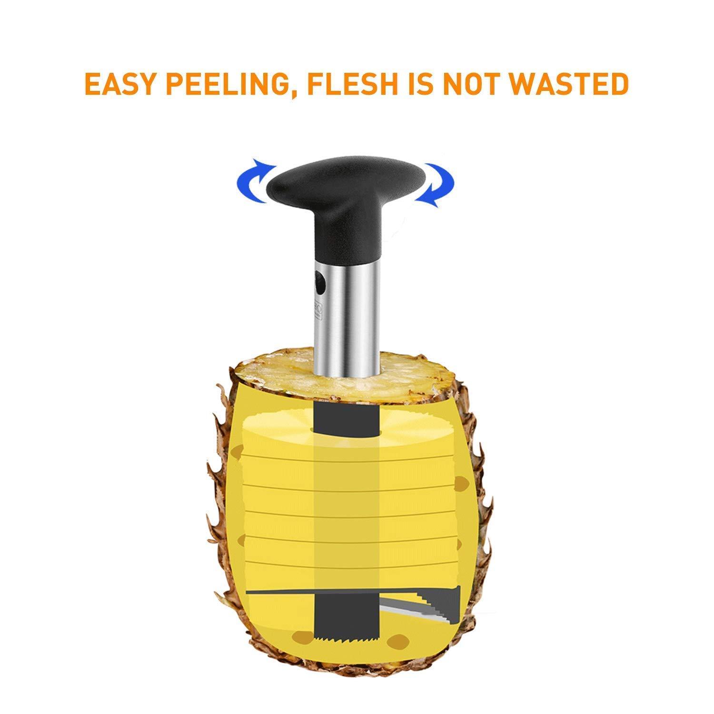 JoySee Silver Stainless Steel Pineapple Corer Peeler Stem Remover Blades for Diced Fruit Rings All in One Pineapple Tool Peeler Slicer