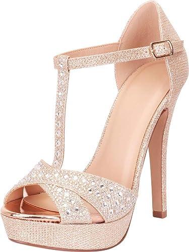 7d68f97aa09 Cambridge Select Women s Open Toe T-Strap Crystal Rhinestone Platform High  Heel Dress Sandal
