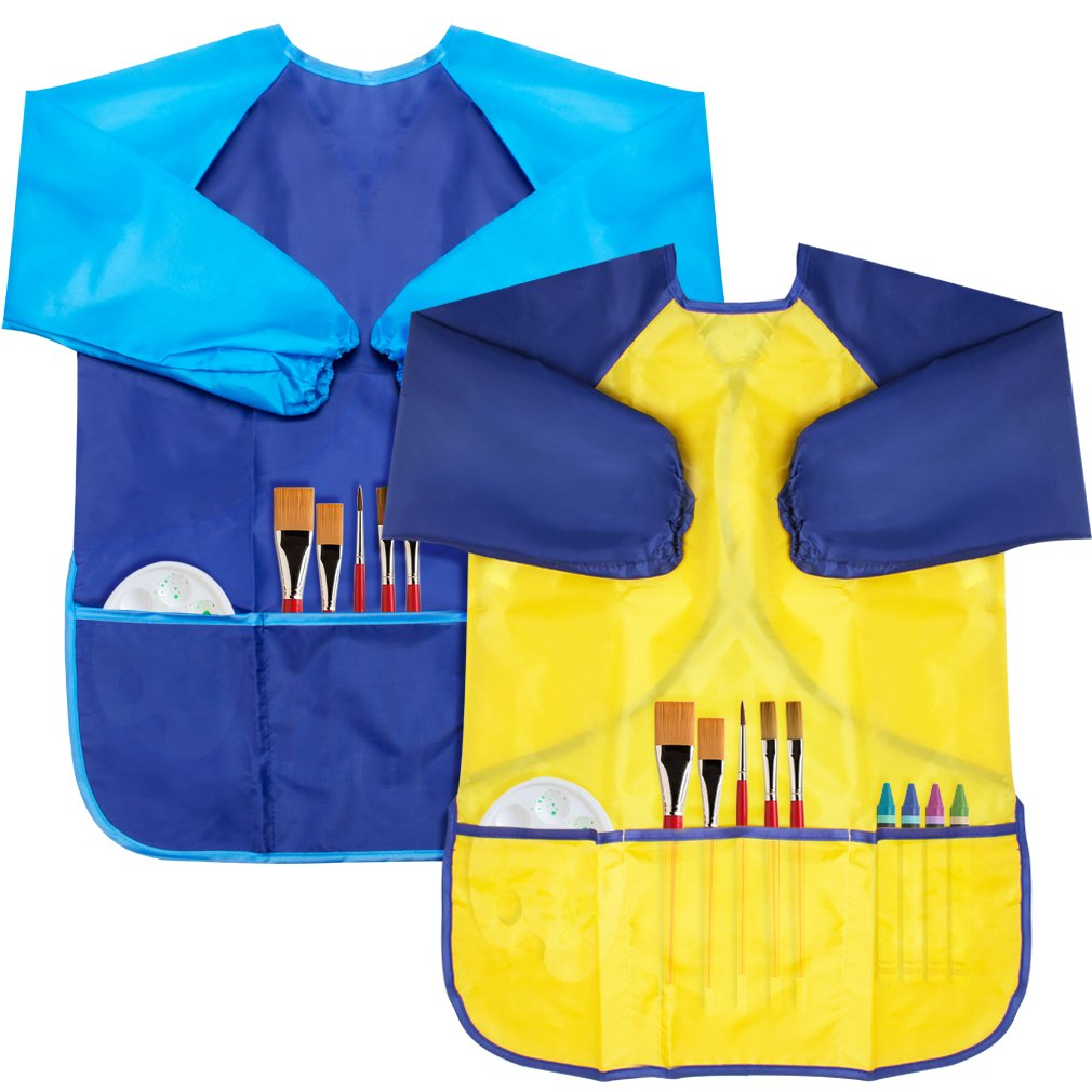 FASOTY 2 Pack Kids Waterproof Artist Aprons Art Smocks, Children Painting Aprons Long Sleeve with 3 Pockets for Age 2-6 Years